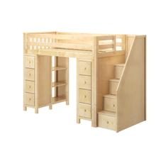 See Details - All in One Staircase Loft Bed Storage + Storage Natural