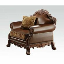 ACME Dresden Chair w/1 Pillow - 15162 - Brown PU & Chenille - Cherry Oak