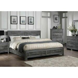 ACME Vidalia Eastern King Bed - 27317EK - Rustic - Wood (Solid Pine), Veneer (Melamine), MDF - Rustic Gray Oak