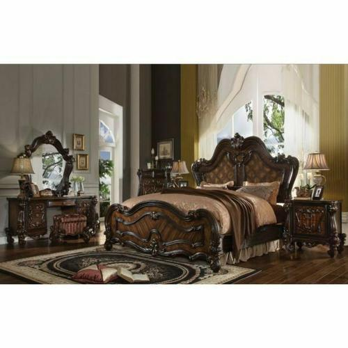 ACME Versailles Eastern King Bed - 21787EK - Cherry Oak