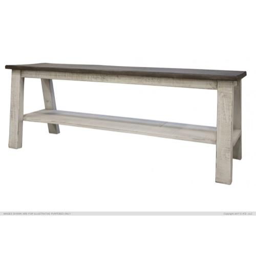 Breakfast Bench w/Shelf, Solid Wood - Gray & White Finish for Counter