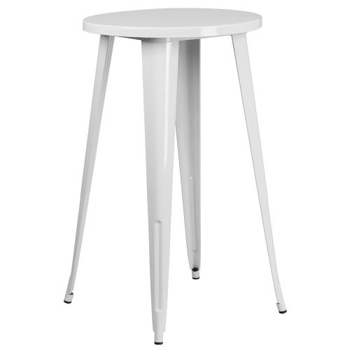 24'' Round White Metal Indoor-Outdoor Bar Height Table
