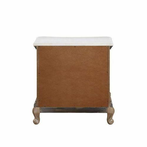 ACME Teagan Nightstand (Marble Top) - 22093 - Traditional - Wood (Poplar), Wood Veneer (Pine), Poly-Resin, MDF - Oak