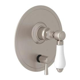 Pressure Balance Trim with Diverter - Satin Nickel with White Porcelain Lever Handle
