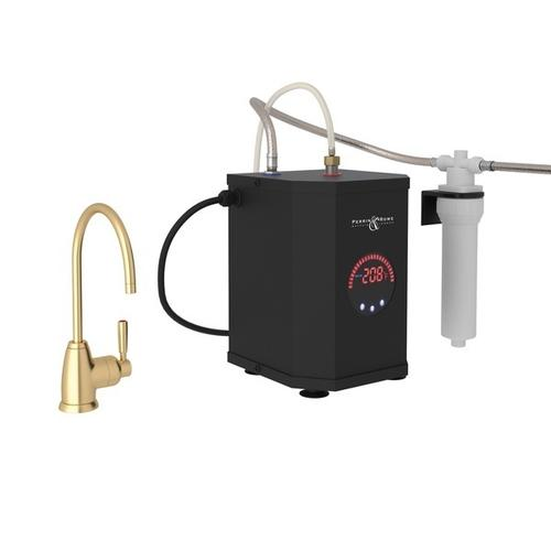 Satin English Gold Perrin & Rowe Holborn C-Spout Hot Water Faucet, Tank And Filter Kit with Contemporary Metal Lever