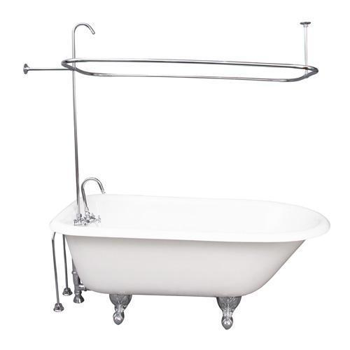 "Brocton 68"" Cast Iron Roll Top Tub Kit - Polished Chrome Accessories"