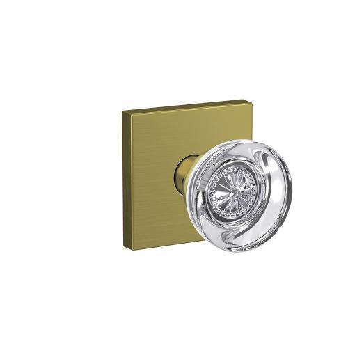 Custom Hobson Non-Turning Glass Knob with Collins Trim - Satin Brass