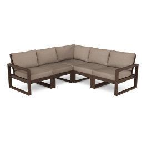 Polywood Furnishings - EDGE 5-Piece Modular Deep Seating Set in Mahogany / Spiced Burlap