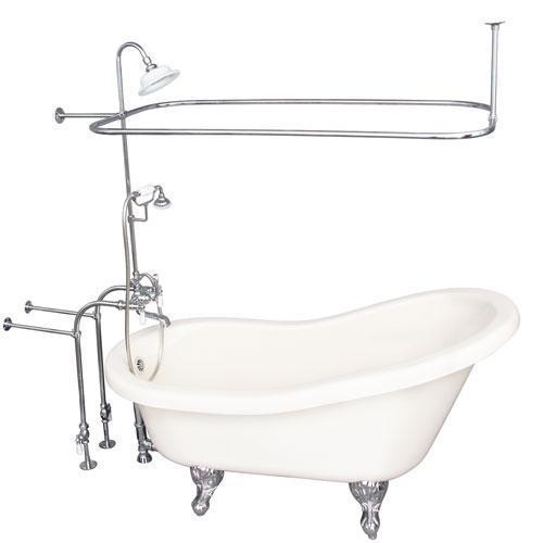 "Fillmore 60"" Acrylic Slipper Tub Kit in Bisque - Polished Chrome Accessories"