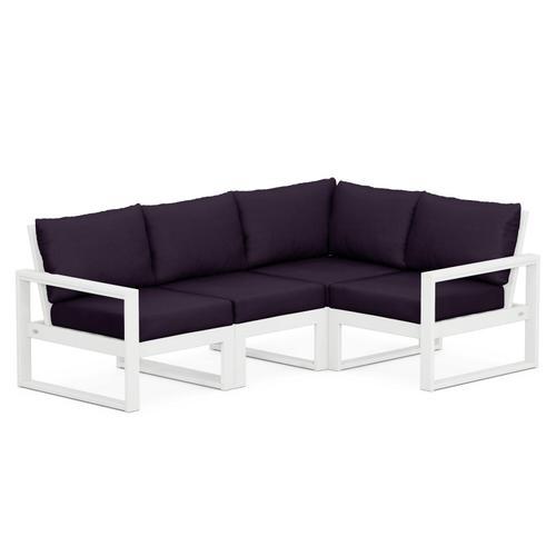 Polywood Furnishings - EDGE 4-Piece Modular Deep Seating Set in White / Navy Linen