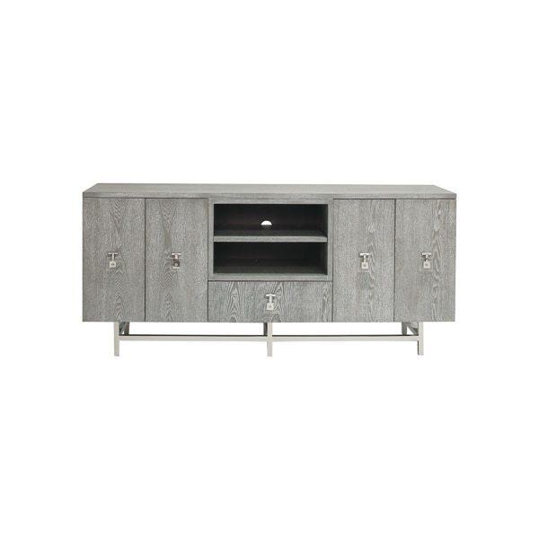 Grey Cerused Oak Media Console With Nickel and Acrylic Hardware