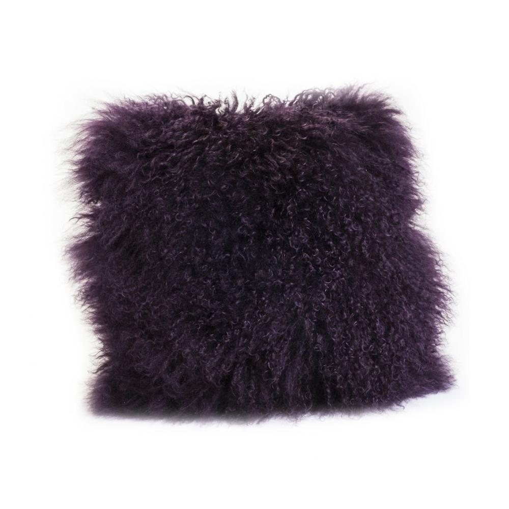 See Details - Lamb Fur Pillow Purple