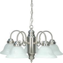 5 Light - Chandelier with Alabaster Glass - Brushed Nickel Finish
