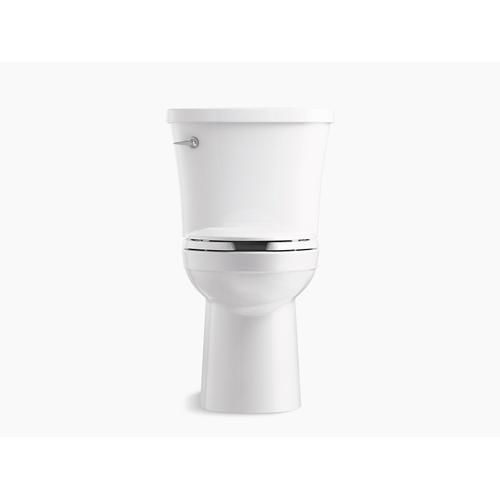 White Two-piece Elongated 1.28 Gpf Toilet With Class Five Flushing Technology, Left-hand Trip Lever and Tank Cover Locks, Seat Not Included
