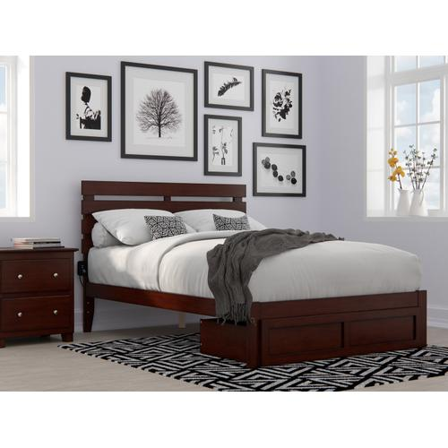 Atlantic Furniture - Oxford Full Bed with Foot Drawer and USB Turbo Charger in Walnut