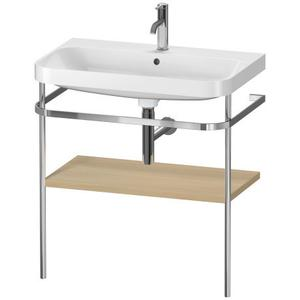 Furniture Washbasin C-shaped With Metal Console Floorstanding, Mediterranean Oak (real Wood Veneer)
