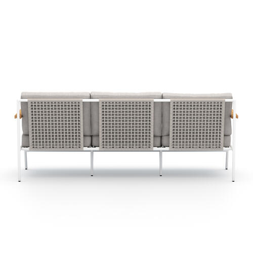Stone Grey Cover Aroba Outdoor Sofa, White Aluminum