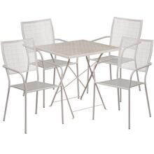 28'' Square Light Gray Indoor-Outdoor Steel Folding Patio Table Set with 4 Square Back Chairs