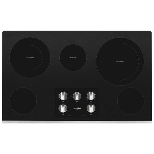 Whirlpool - 36-inch Electric Ceramic Glass Cooktop with Two Dual Radiant Elements