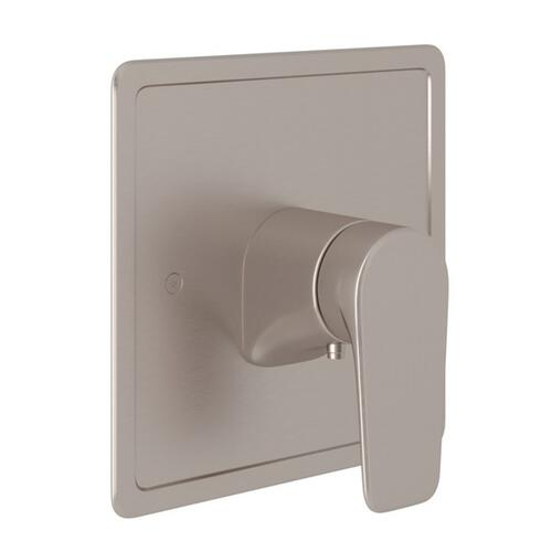 Satin Nickel Perrin & Rowe Hoxton Thermostatic Trim Plate Without Volume Control with Hoxton Metal Lever