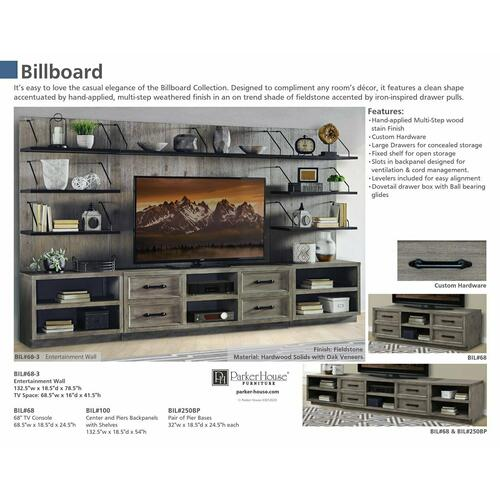 BILLBOARD Center & Pier backpanels with shelves