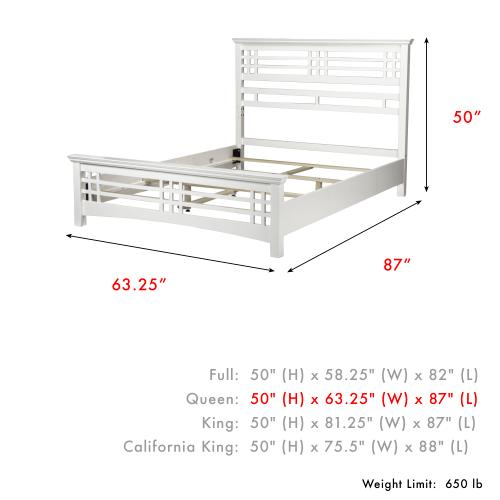 Avery Complete Wood Bed and Bedding Support System with Mission Style Design, Cottage White Finish, Queen