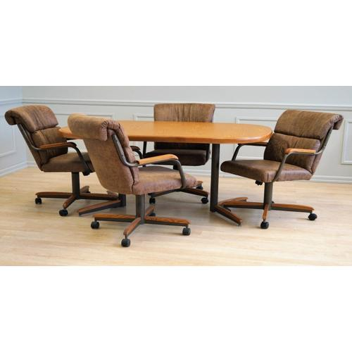 All Wood Furniture - Mocha Douglas Extension Table with Tilt Swivel Chairs