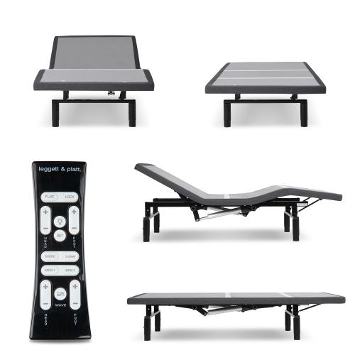 Leggett and Platt - Simplicity 3.0 Low-Profile Adjustable Bed Base with Full Body Massage and Simultaneous Movement, Charcoal Gray Finish, Twin XL