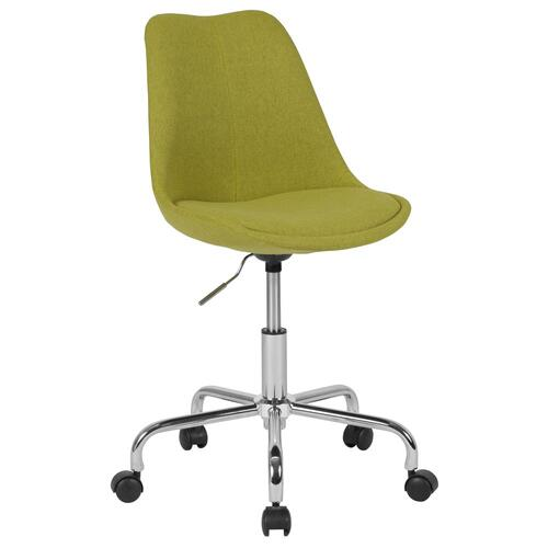 Mid-Back Green Fabric Task Chair with Pneumatic Lift and Chrome Base