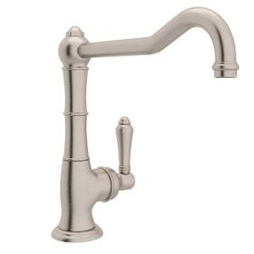 Cinquanta Single Hole Column Spout Kitchen Faucet with Extended Spout - Satin Nickel with Metal Lever Handle