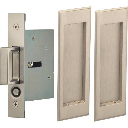 Product Image - Passage Pocket Door Lock with Traditional Rectangular Trim featuring Mortise Edge Pull in (US15 Satin Nickel Plated, Lacquered)