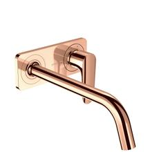 Polished Red Gold Single lever basin mixer for concealed installation wall-mounted with spout 227 mm and plate