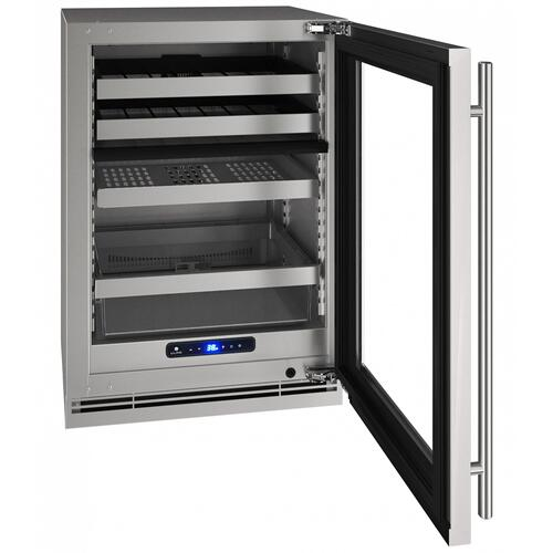 "Hbd524 24"" Dual-zone Beverage Center With Stainless Frame Finish and Field Reversible Door Swing (115 V/60 Hz Volts /60 Hz Hz)"