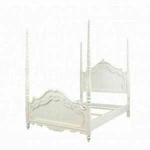 ACME Pearl Twin Bed (Poster) - 01000T - Pearl White & Gold Brush Accent