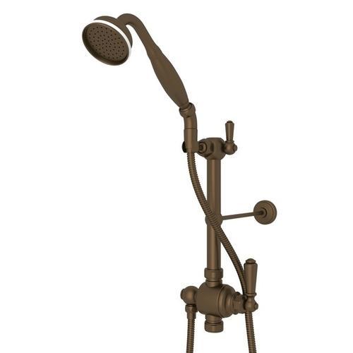 """English Bronze Riser Diverter, Handshower, Hose, Parking Bracket And 8"""" Thermostatic Outlet with Edwardian Metal Lever"""