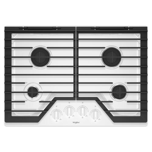 Whirlpool - 30-inch Gas Cooktop with EZ-2-Lift™ Hinged Cast-Iron Grates White