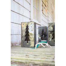 See Details - set of six tin bag christmas tree lanterns