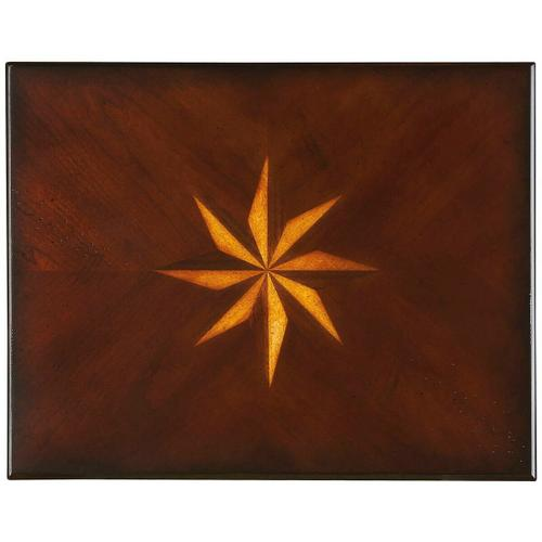 Butler Specialty Company - Selected solid woods, wood products and choice veneers. Four-way matched cherry veneer top with starburst inlay design of cherry, maple and walnut veneers.