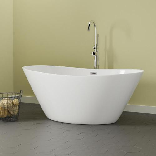 """Barclay - Nickelby 68"""" Acrylic Double Slipper Tub with Integral Drain and Overflow - Brushed Nickel"""