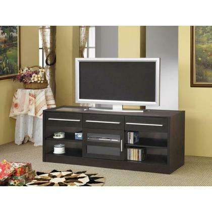 See Details - Contemporary Cappuccino TV Console With Connect-it Power Drawer