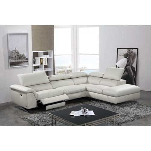 VIG Furniture - Divani Casa Maine - Modern Light Grey Eco-Leather Right Facing Sectional Sofa with Recliner