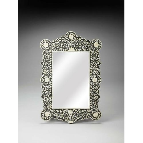 Butler Specialty Company - This magnificent Wall Mirror features sophisticated artistry and consummate craftsmanship. The botanic patterns covering the piece are created from white bone inlays cut and individually applied in a sea of black by the hands of a skillful artisan. No two mirrors are ever exactly alike, ensuring this piece will hang as a bonafide original.