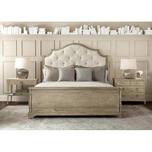Queen Rustic Patina Upholstered Sleigh Bed in Sand (387)