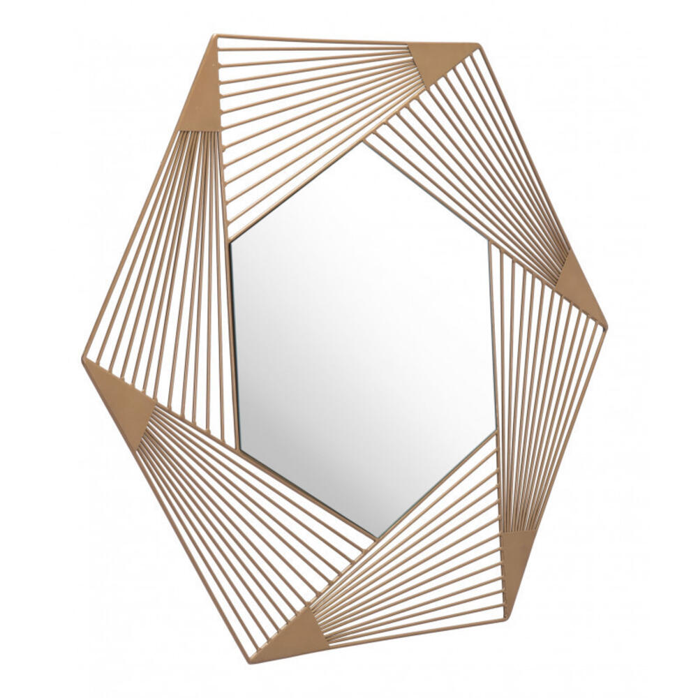 See Details - Aspect Hexagonal Mirror Gold