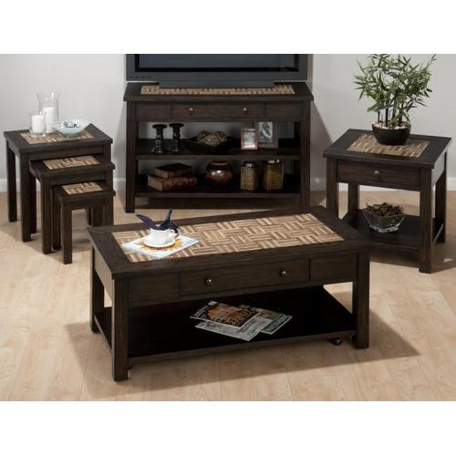 3 Nesting Chairside Tables W/ Tile Top. Medium: 18x18x19. Small: 13x13x16.