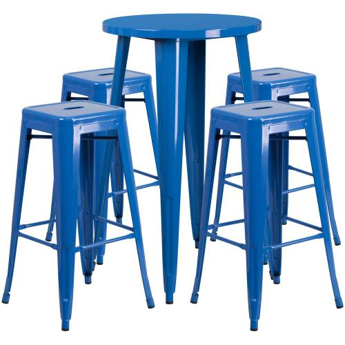 24'' Round Blue Metal Indoor-Outdoor Bar Table Set with 4 Square Seat Backless Stools