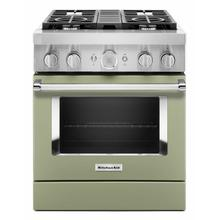 See Details - KitchenAid® 30'' Smart Commercial-Style Dual Fuel Range with 4 Burners - Matte Avocado Cream
