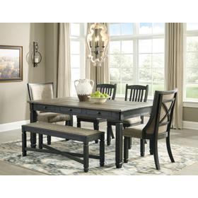 Tyler Creek Table & 2 Chairs & 2 Upholstered Chairs & Bench 2 Tone