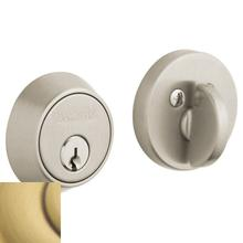 View Product - Satin Brass and Brown Contemporary Deadbolt