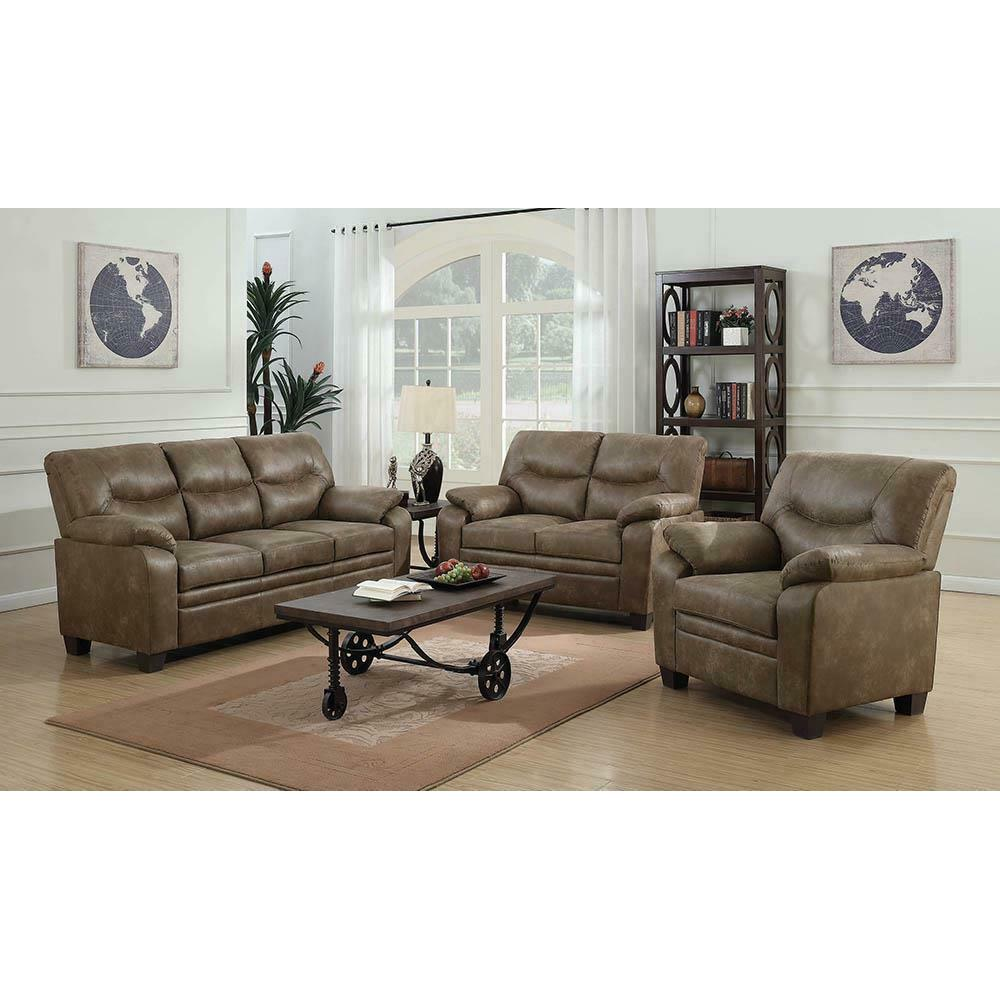 See Details - Meagan Casual Brown Three-piece Living Room Set